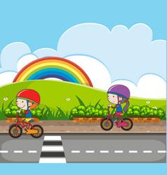 scene with kids riding bike in park vector image