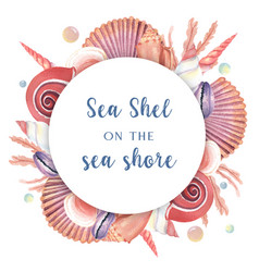 Sea shell wreath marine life summertime travel vector