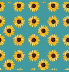 seamless floral pattern of yellow sunflowers vector image