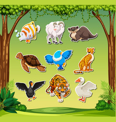 set animal sticket vector image