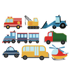 Set cartoon cars collection stylized cars vector