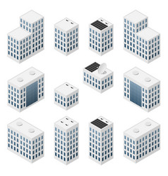 set isometric modern white buildings vector image