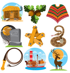 set of color on the theme of the wild west vector image