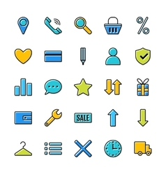 Set of icons e-Commerce flat design shopping vector image