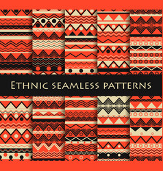 Set of seamless in ethnic style tribal textiles vector