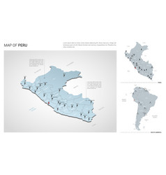 set peru country isometric 3d map peru map vector image
