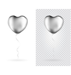 set silver heart shaped foil balloons on vector image