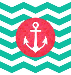 Simple geometric nautical card with anchor vector image