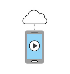 smartphone and cloud computing with media player vector image