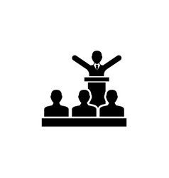 speaker president with crowd people flat vector image