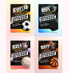 sport flyer ad set soccer football hockey vector image