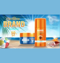 Sun protection sunscreen and sunblock design vector
