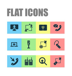 telecommunication icons set with talking internet vector image