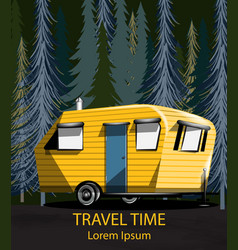 Travel car in the forrest camping trailer vector