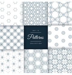 Vintage style line pattern design set vector