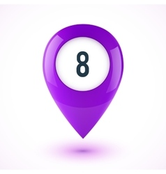Violet realistic 3D glossy map point symbol vector