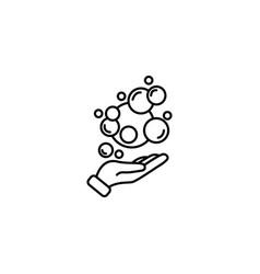 Web line icon bubbles in hand bubble blower vector