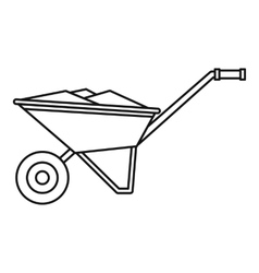 Wheelbarrow icon outline style vector