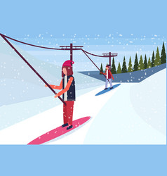 Woman snowboarder using ski lift cable way winter vector