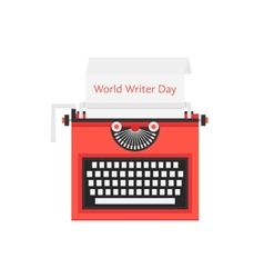 World writer day with red typewriter vector