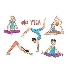 Yoga girl poster beautiful hand drawn vector