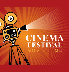 cinema festival poster with old movie camera vector image vector image