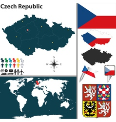 Czech Republic map world vector image vector image