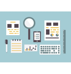 Flat design of objects and equipment analytics vector image