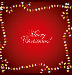 merry christmas greeting card garland lights frame vector image