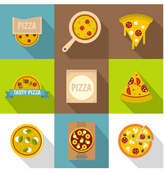 pizza shop icons set flat style vector image