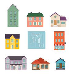 set flat house icons family house icon isolated vector image vector image