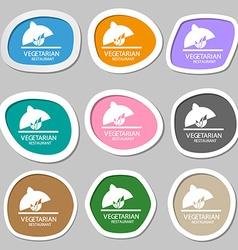 vegetarian restaurant symbols Multicolored paper vector image