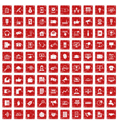 100 help desk icons set grunge red vector image