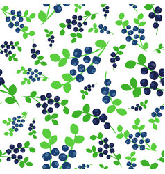 blueberries background painted pattern vector image