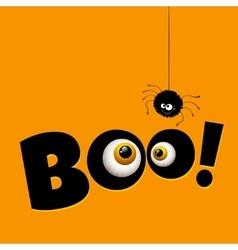 Funny halloween greeting card monster eyes vector