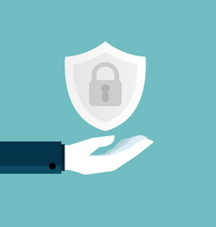human hand holding shield with key lock vector image