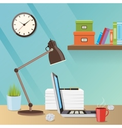 Modern creative workspace with work vector image vector image