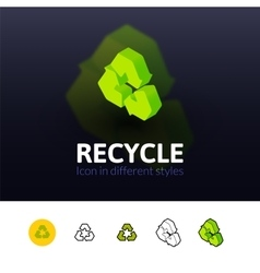 Recycle icon in different style vector image