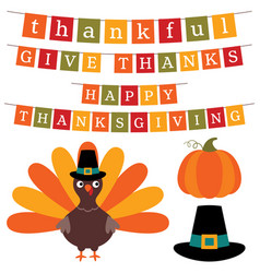 thanksgiving banners and design elements set vector image