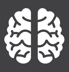 brain solid icon brainstorm and idea medical vector image