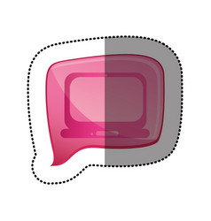 color sticker with laptop computer icon in square vector image
