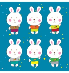 Funny bunnies on a white background characters vector image vector image