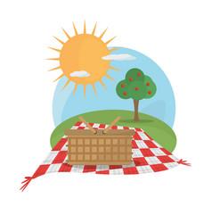 Picnic basket tablecloth landscape vector