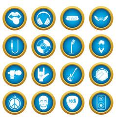 rock music icons blue circle set vector image vector image