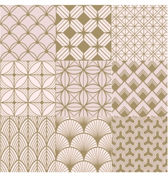 seamless gold and pink geometric pattern vector image vector image