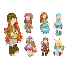 set cute dolls girl vector image