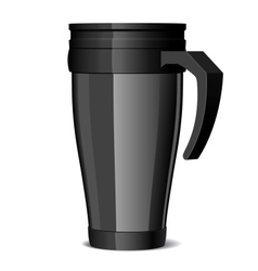 Shiny black Metal travel thermo-cup vector image
