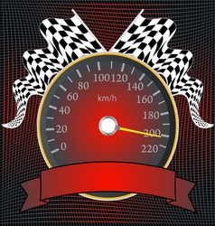 Speedometer with checkered flags and banner vector image vector image