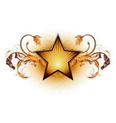 star with floral elements vector image vector image
