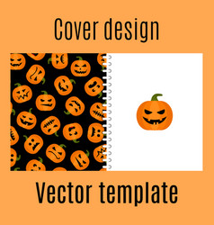 Cover design with pumpkin harvest pattern vector